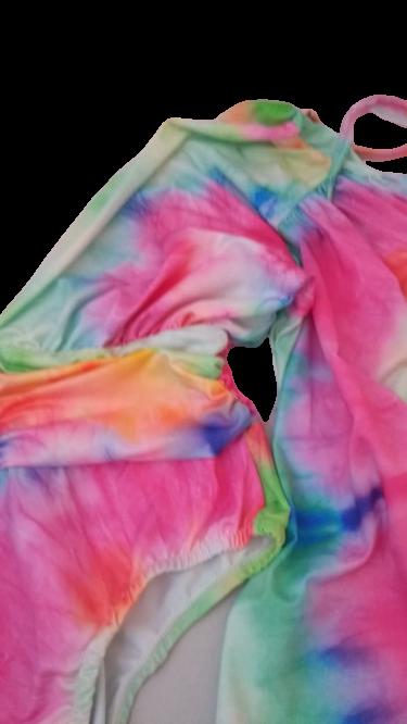 Body tie dye arco íris mangas bufantes