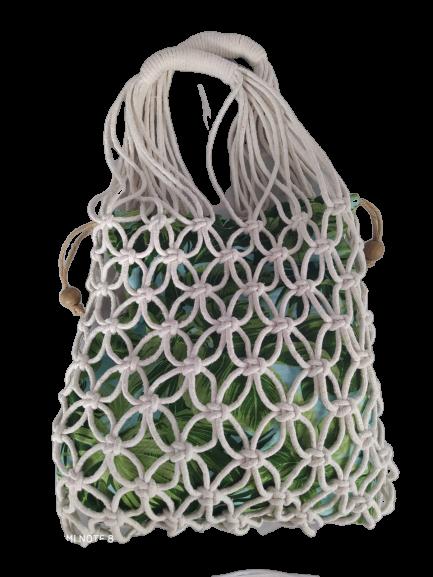 Bolsa saco tiras corda estampa verde folhagens.