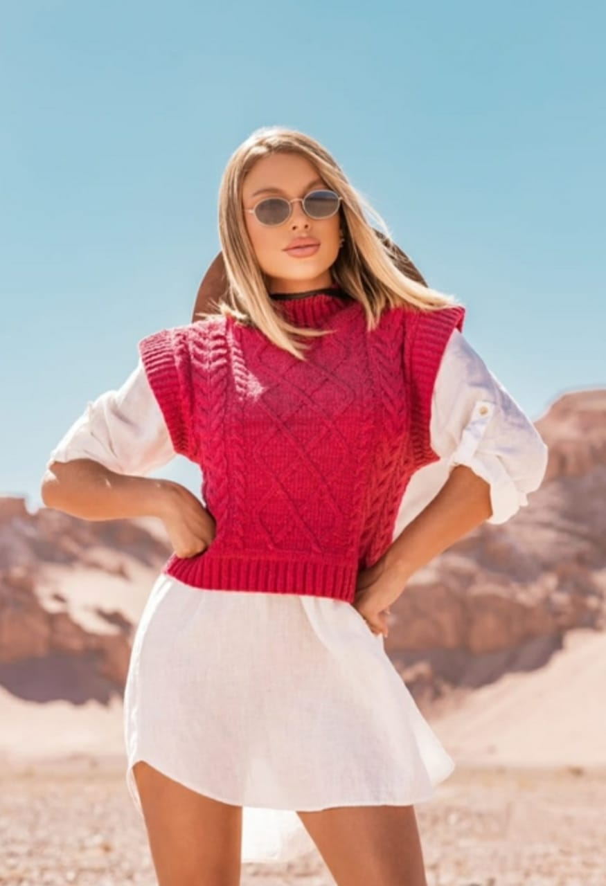 Colete tricot modal trança Gola Baixa