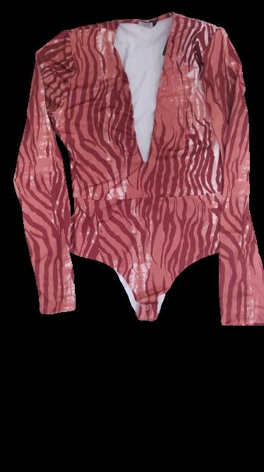 Conjunto feminino saia e body animal print zebra
