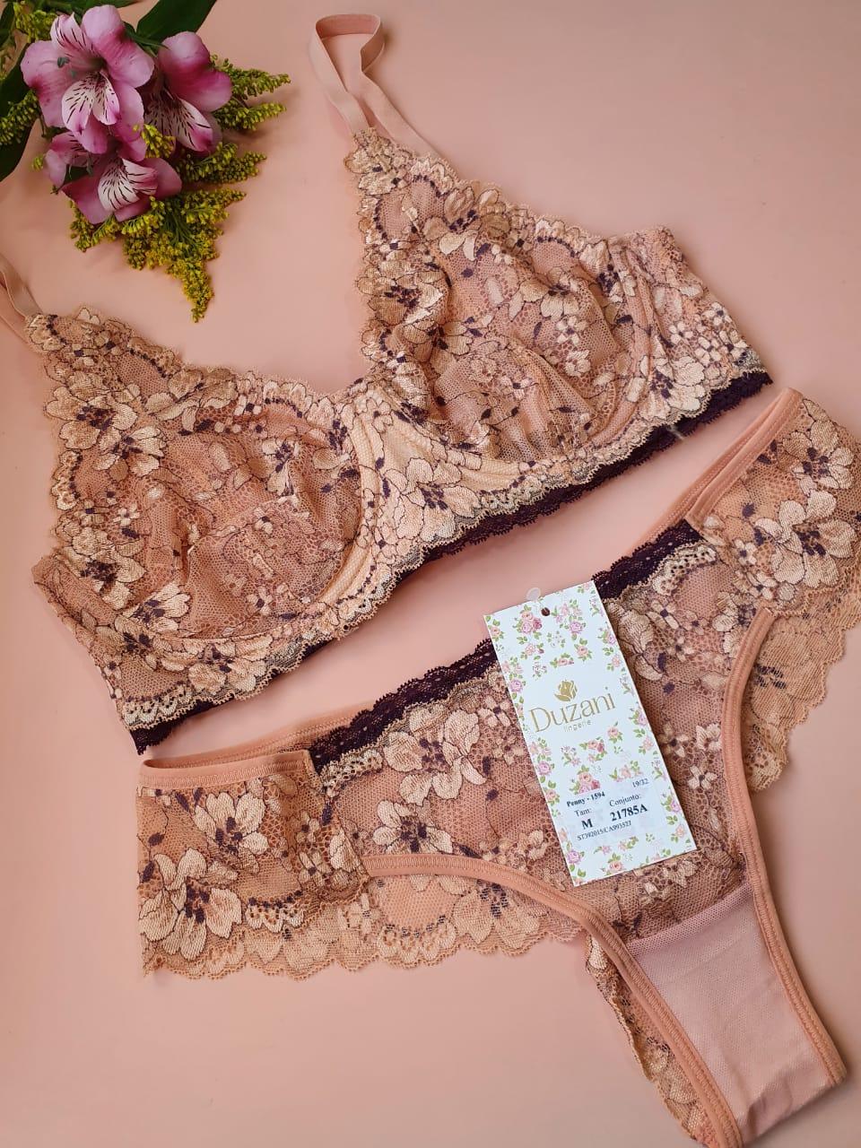 Conjunto Langerie rendado floral delicado soutien com aro e sem bojo calcinha fio