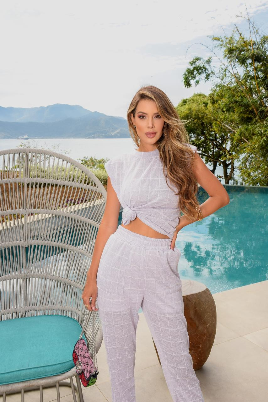 Conjunto lavanda Linho calça e blusa Xadrez