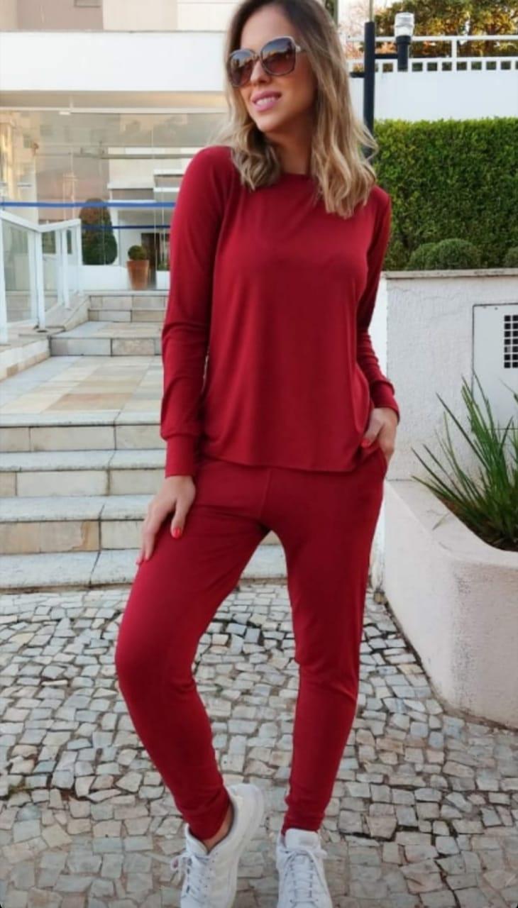 Conjunto moletinho basic calça e blusa manga comprida viscolycra
