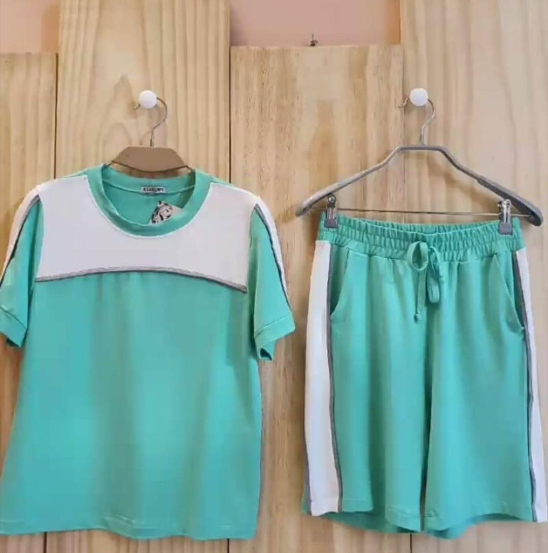Conjunto moletinho homewear comfy bicolor mescla e branco