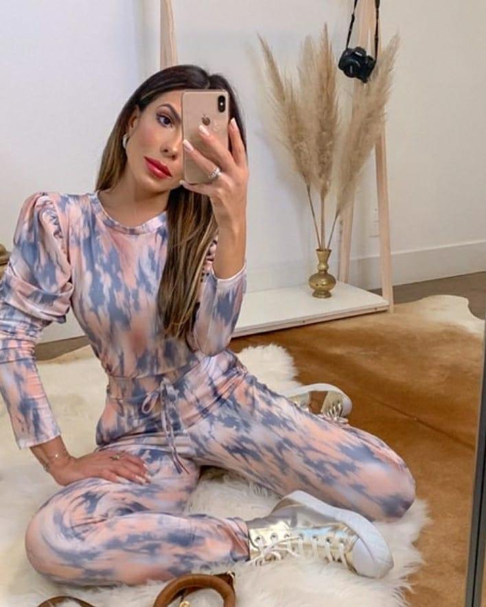 conjunto moletinho tie dye princesa bufante candy color tecido fluity