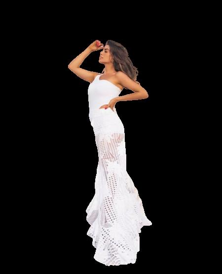 Conjunto rendado branco saia longa babado e hot pants alcinhas finas.