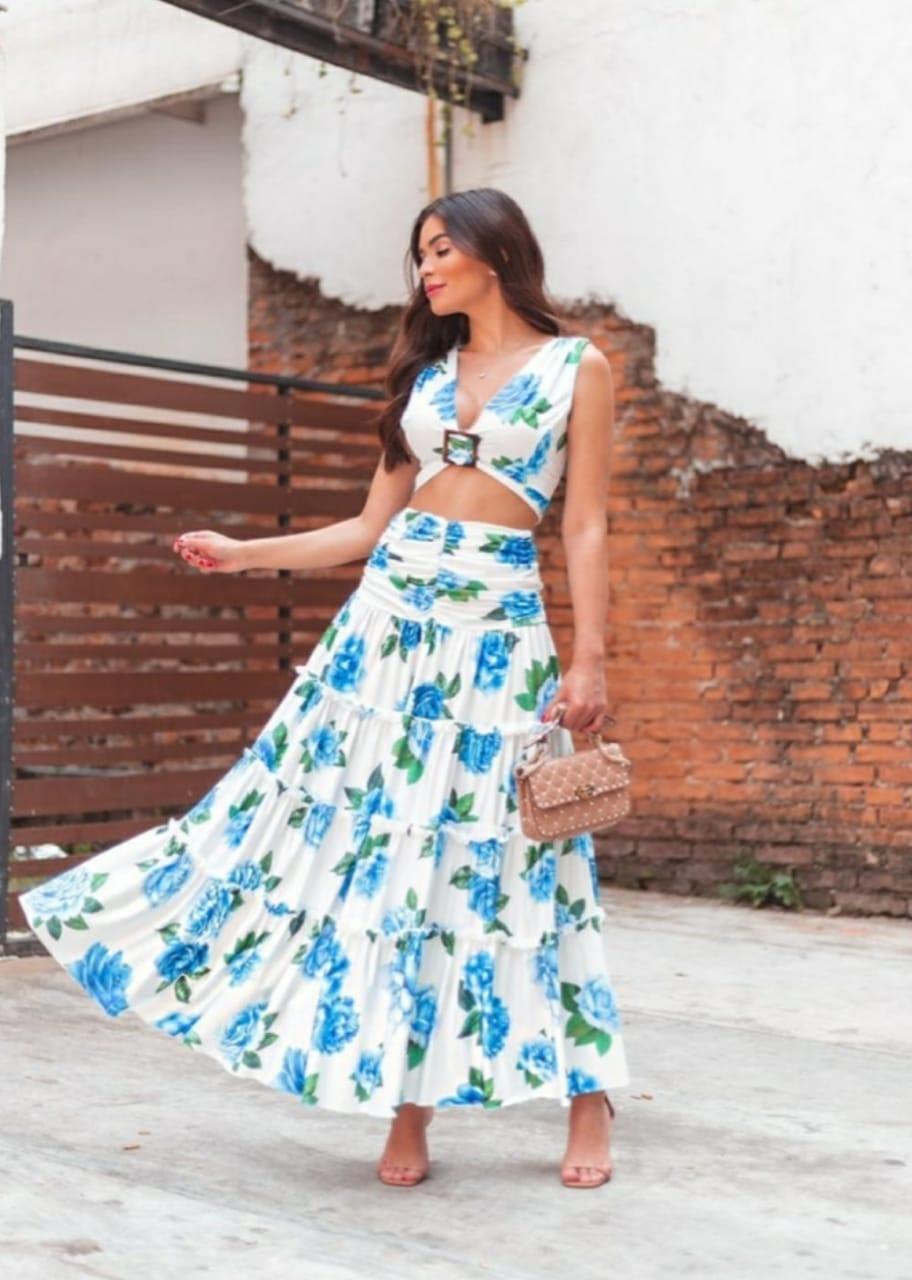 Conjunto saia longa 3 marias e cropped estampa blue flower secret