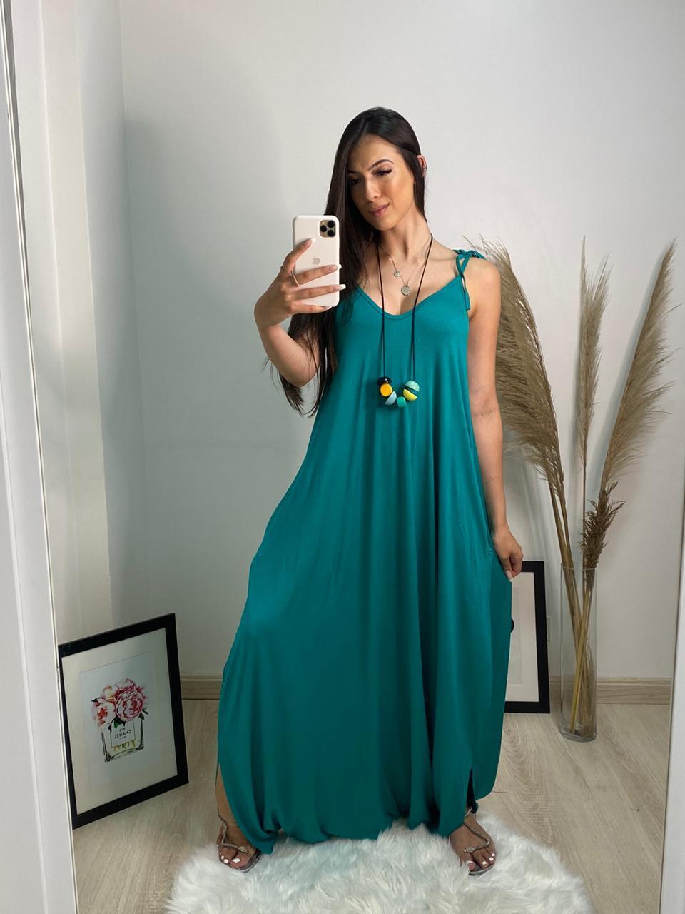 Macacão Jade boho style verde alcinhas ajustáveis