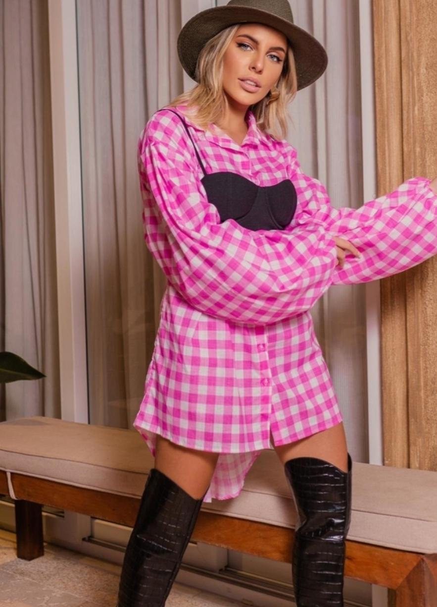Maxi Camisa Over Size Xadrez Rosa mangas bufantes