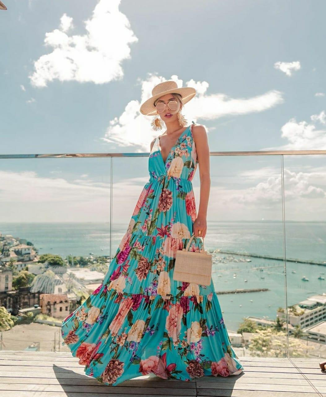 Vestido azul céu print floral saia 3 Marias