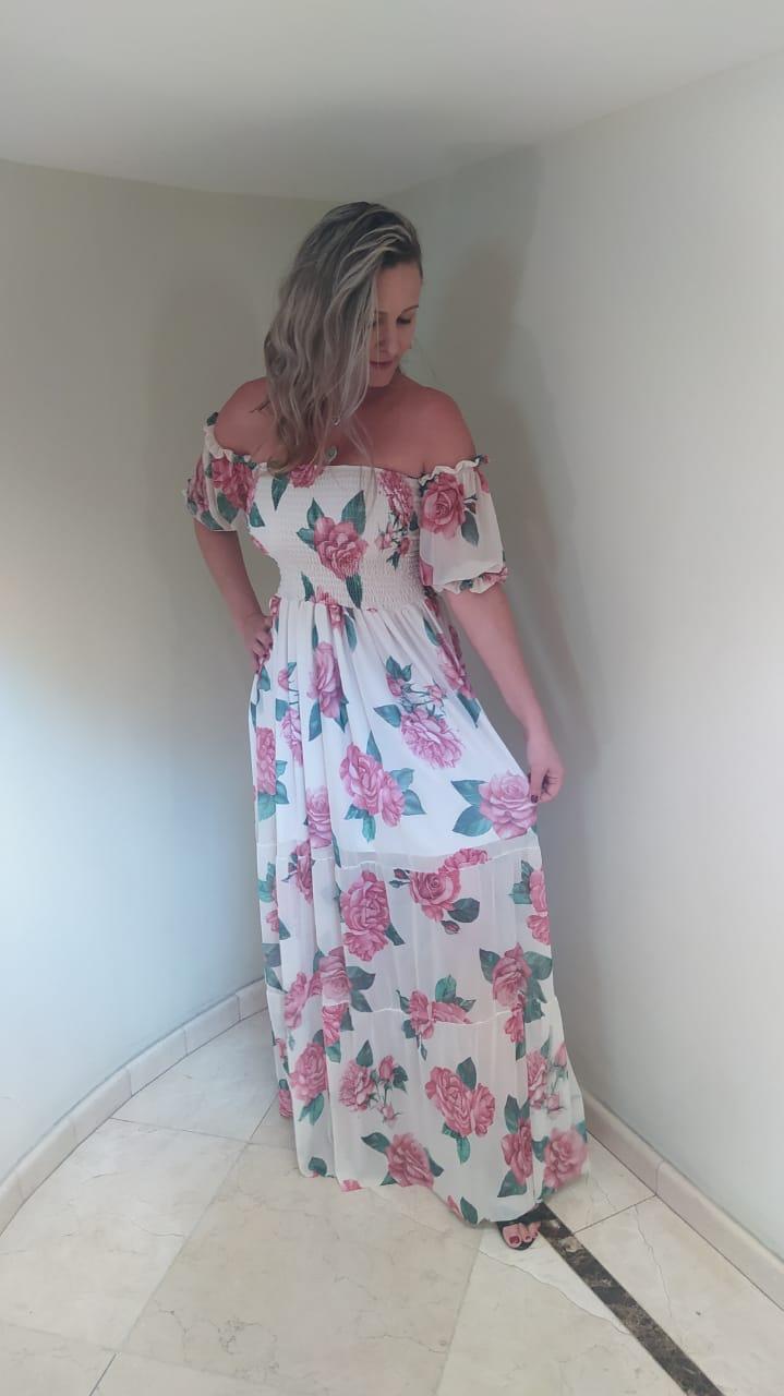Vestido floral roses tule modelo ciganinha saia 3 marias.