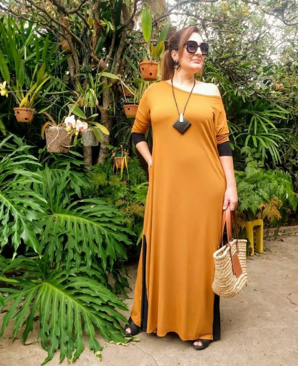 Vestido longo bicolor comfy fluído