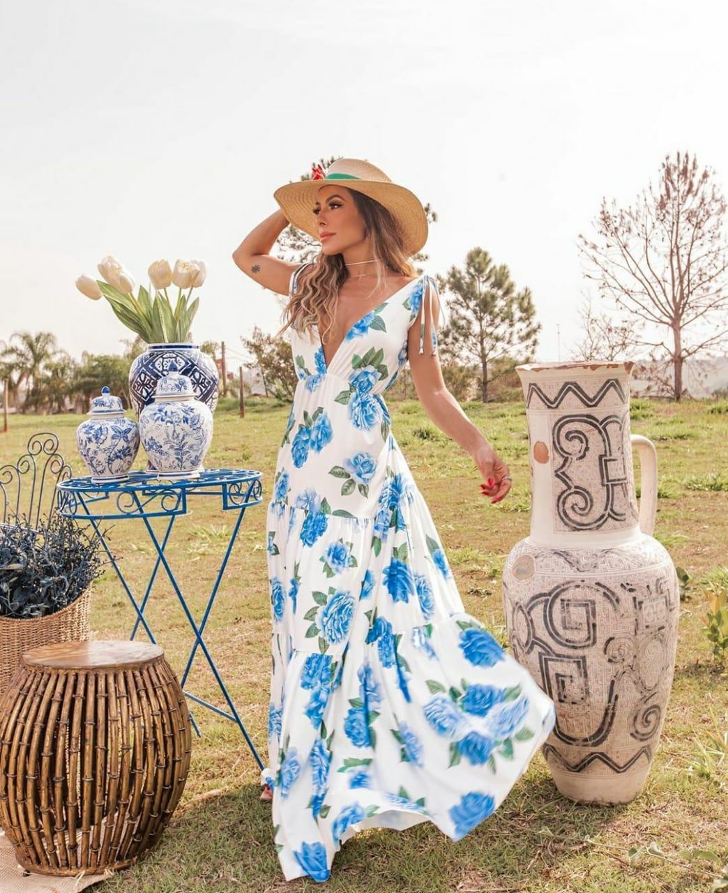 Vestido longo branco Flowers Power blue