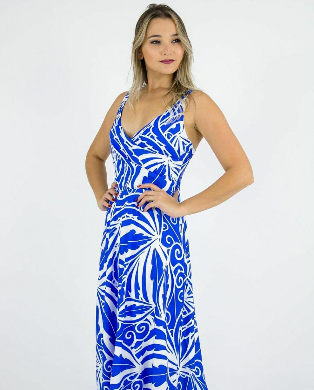 Vestido longo transpassado azul Royal