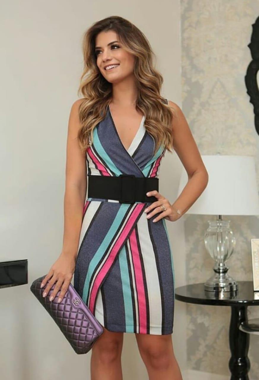 Vestido lurex listrado colorido decote V