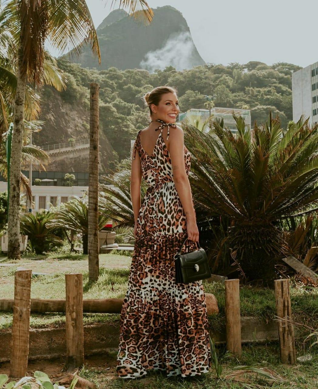 Vestido onça safari saia babado três Marias