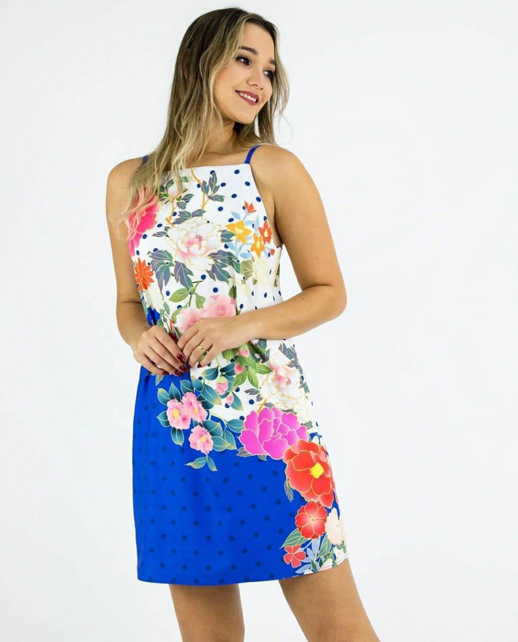Vestido poá floral oriental