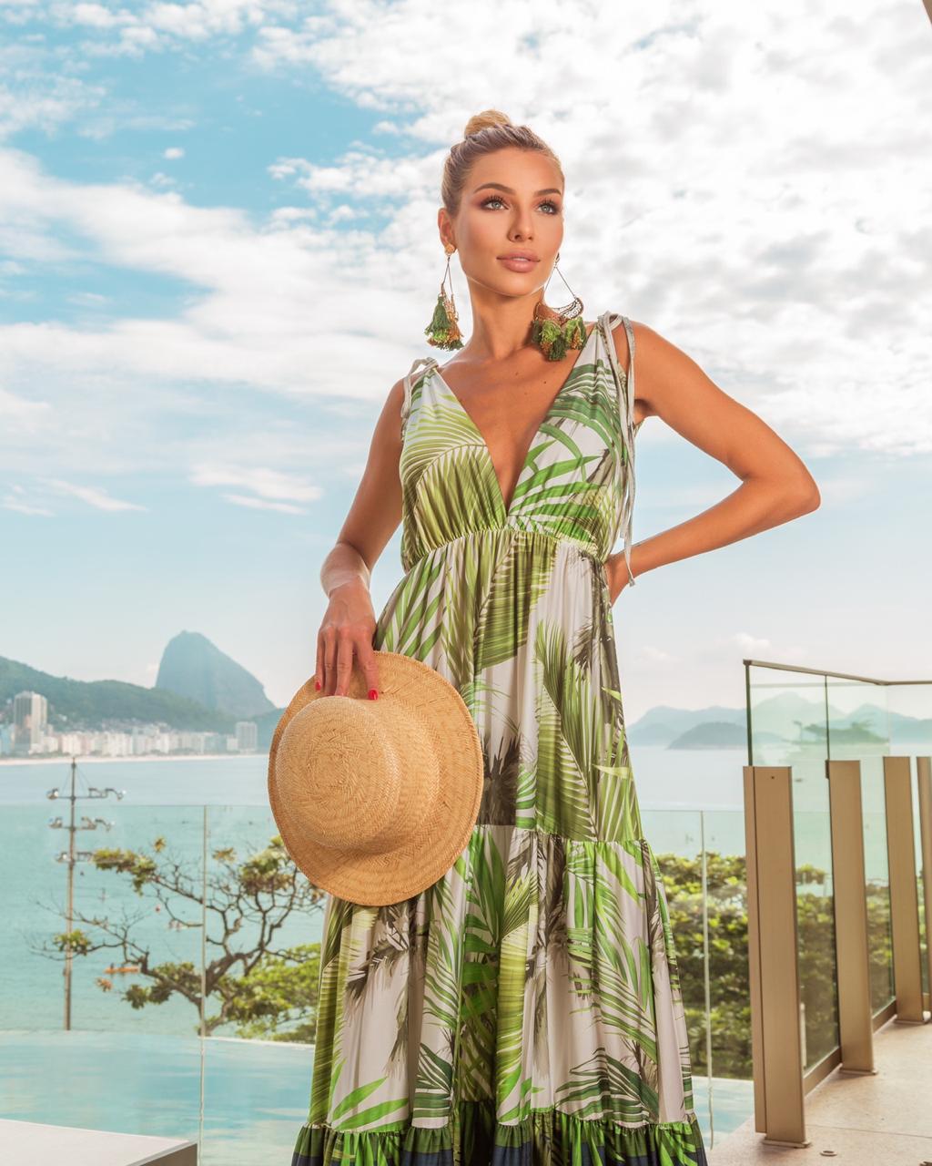 Vestido tropical folhagens e listras verde e azul