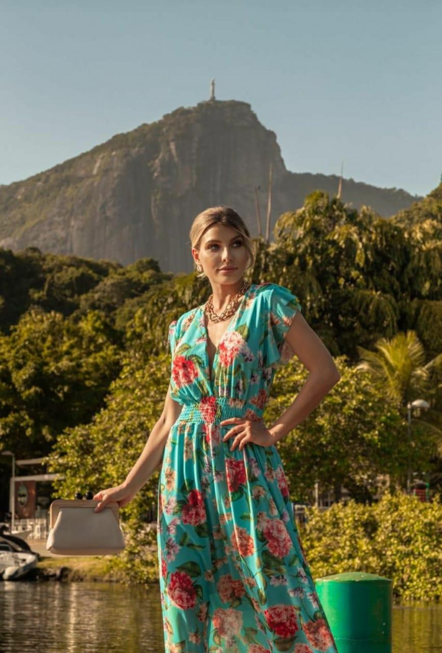Vestido turquesa romântico floral tule
