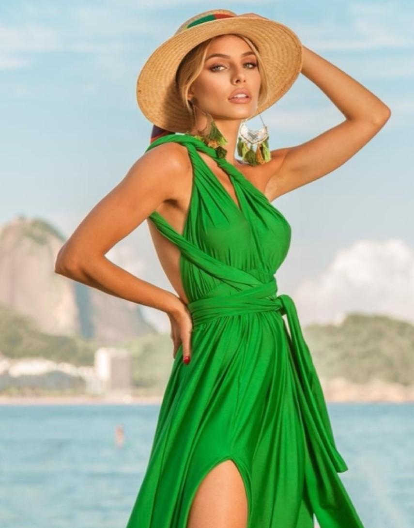 Vestido verde bandeira multi formas fenda frontal