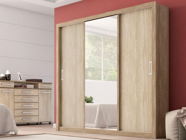 fc04296fc Guarda Roupa Casal com Espelho 3 Portas Residence Demóbile Nogal Vanilla  Touch - Combo Stock Comércio de Moveis