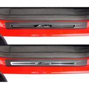Jogo Soleira Premium Elegance Ford New Fiesta 2013 2014 - 4 Portas ( Vinil + Resinada 8 Peças )