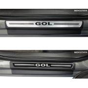Jogo Soleira Premium Elegance Vw Gol G5 / G6  2008 2009 2010 2011 2012 2013 2014 2015 - ( Vinil + Resinada 4 Peças )