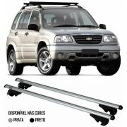 Rack Travessa Chevrolet Tracker 2001 2002 2003 2004 2005 2006 2007 2008 2009 - Kiussi Alumínio Com Chave 50KG - Preto / Prata