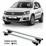 Rack Travessa Vw Tiguan 2009 2010 2011 2012 2013 2014 2015 - Kiussi Belluno XL 130cm Alumínio Com Chave 50KG - Preto / Prata