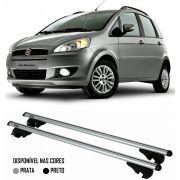 Rack Travessa Fiat Idea 2005 2006 2007 2008 2009 2010 2011 2012 2013 2014 2015 2016 Com Longarina - Kiussi Belluno 117cm Alumínio Com Chave 50KG - Preto / Prata