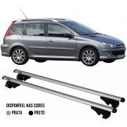 Rack Travessa Peugeot 206 SW 2005 2006 2007 2008 2009 2010 2011 2012 2013 2014 2015 - Kiussi Belluno 117cm Alumínio Com Chave 50KG - Preto / Prata