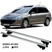 Rack Travessa Peugeot 307 SW 2003 2004 2005 2006 2007 2008 - Kiussi Belluno 117cm Alumínio Com Chave 50KG - Preto / Prata