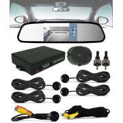Kit Espelho Retrovisor Monitor Tela LCD 4.3 + Câmera Ré + Sensor Estacionamento AV