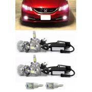Kit Lâmpada Super LED Honda Civic 2012 2013 2014 2015 Farol Baixo + Farol Milha + Lâmpada Pingo Total 6 Lâmpadas - Efeito Xenon