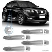 Aplique Maçaneta Cromado Com Furo Keyless Nissan Kicks 4 Peças