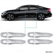 Aplique Maçaneta Cromado Sem Furo Honda Civic G10 4 Peças