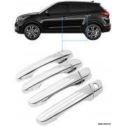 Aplique Maçaneta Cromado Sem Furo Hyundai Creta 4 Peças