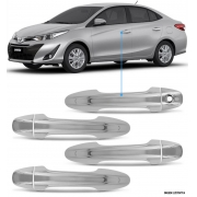 Aplique Maçaneta Cromado Sem Furo Keyless Toyota Yaris 4 Peças