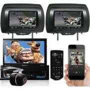 """DVD Player Retrátil Pioneer AVH-Z7180TV Tela 7""""  TV Bluetooth USB Auxiliar 2 Encosto Cabeça Câmera"""