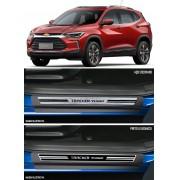 Jogo Soleira Premium Elegance Chevrolet New Tracker Turbo 2020 Em Diante - 4 Portas ( Vinil + Resinada 8 Peças )
