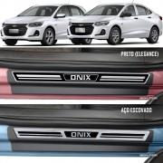 Jogo Soleira Premium Elegance Gm Onix e Onix Plus 2020 - 4 Portas ( Vinil + Resinada 8 Peças )