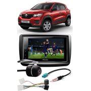 Kit Combo DVD Pioneer SPH-DA138TV + Moldura de Painel 2 Din + Câmera de Ré + Chicotes Renault Kwid