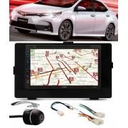 Kit Combo Multimídia + Moldura de Painel 2 Din + Chicote C/ Adaptador de Antena + Câmera de Ré Toyota Corolla GLI 2017 2018
