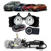 Kit Farol de Milha Neblina Chevrolet Cobalt  Spin Novo Prisma Onix LT / LTZ 2013 á 2015 + Kit Lâmpada Super LED 6000K