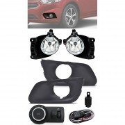 Kit Farol de Milha Neblina Chevrolet Joy Hatch e Sedan 2020 2021 Com Moldura