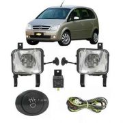 Kit Farol de Milha Neblina Chevrolet Meriva 2002 2003 2004 2005 2006 2007 2008 2009 2010 2011 2012 - Interruptor Alternativo
