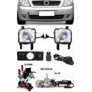 Kit Farol de Milha Neblina Chevrolet Meriva Botão Modelo Original + Kit Xenon 6000K 8000K ou Kit Lâmpada Super LED 6000K