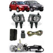 Kit Farol de Milha Neblina Chevrolet Novo Celta Prisma 2012 2013 2014 2015 - Interruptor Modelo Original + Kit Lâmpada Super LED 6000K