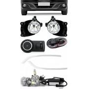 Kit Farol de Milha Neblina Chevrolet Novo Prisma Onix LT LTZ 2013 á 2015 + Friso Cromo + Kit Lâmpada Super LED 6000K