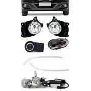 Kit Farol de Milha Neblina Chevrolet Novo Prisma Onix LT LTZ 2013 á 2015 + Friso Cromo + Kit LED 6000K